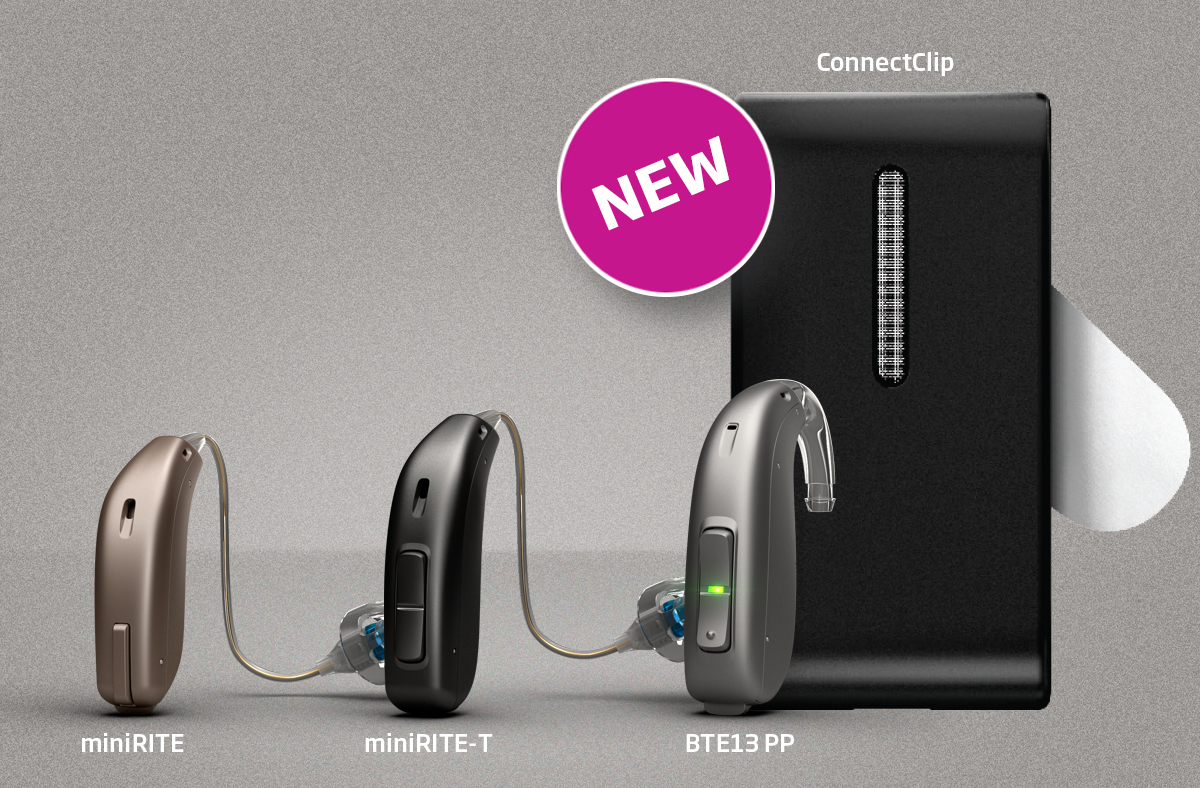 Oticon Opn three hearing aid lineup with labels and ConnectClip accessory text-image-spot