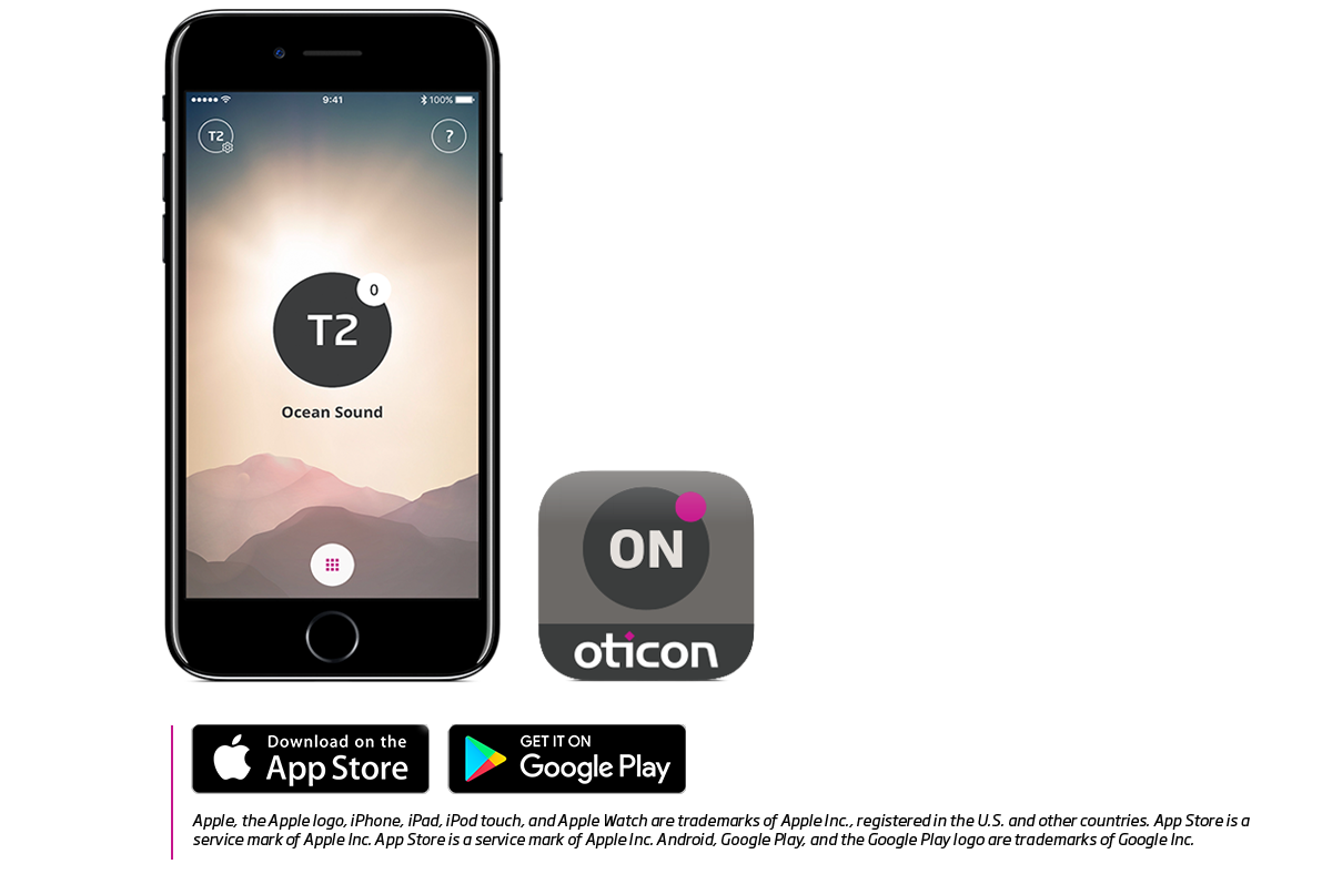 Oticon ON App for Opn on phone showing with Tinnitus SoundSupport ocean sound-1200x788-2