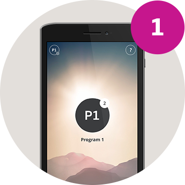 imagespot-Oticon ON App for Opn on phone with Program 1 screen step 1